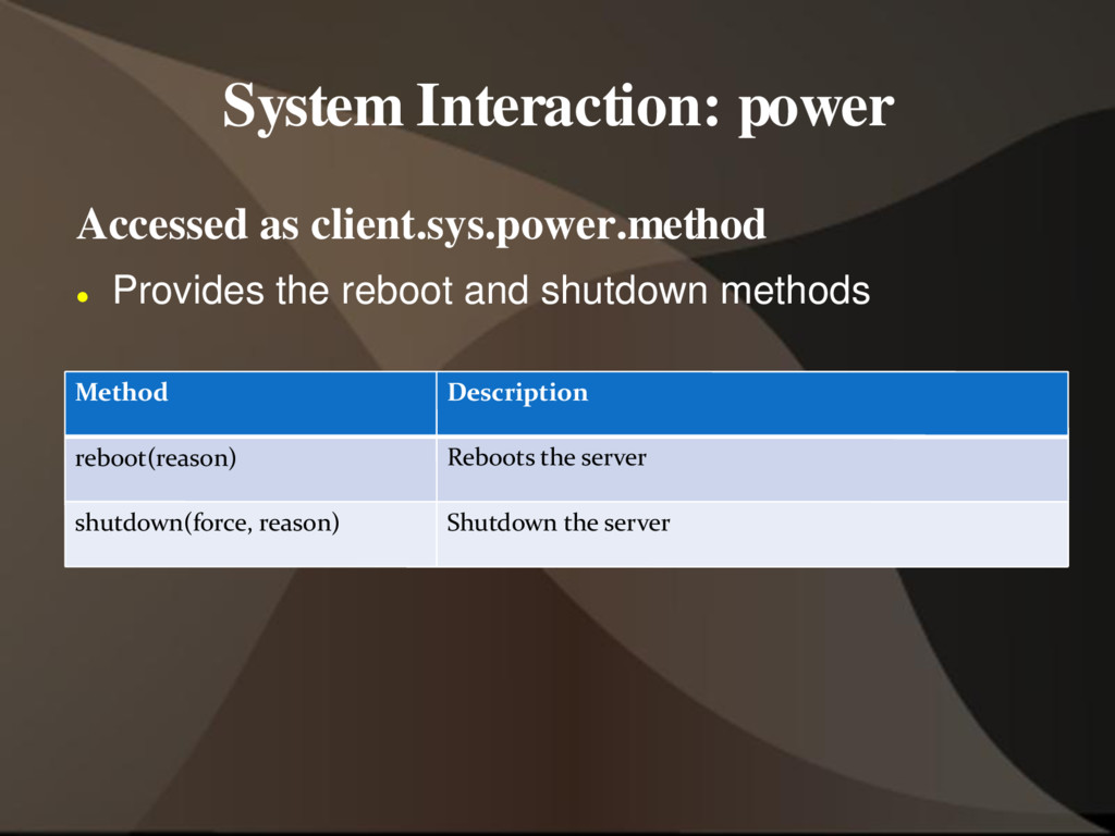 System Interaction: power Accessed as client.sy...