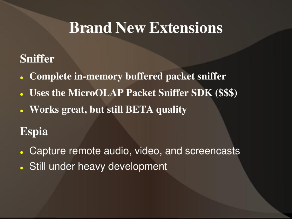Brand New Extensions Sniffer  Complete in-memo...