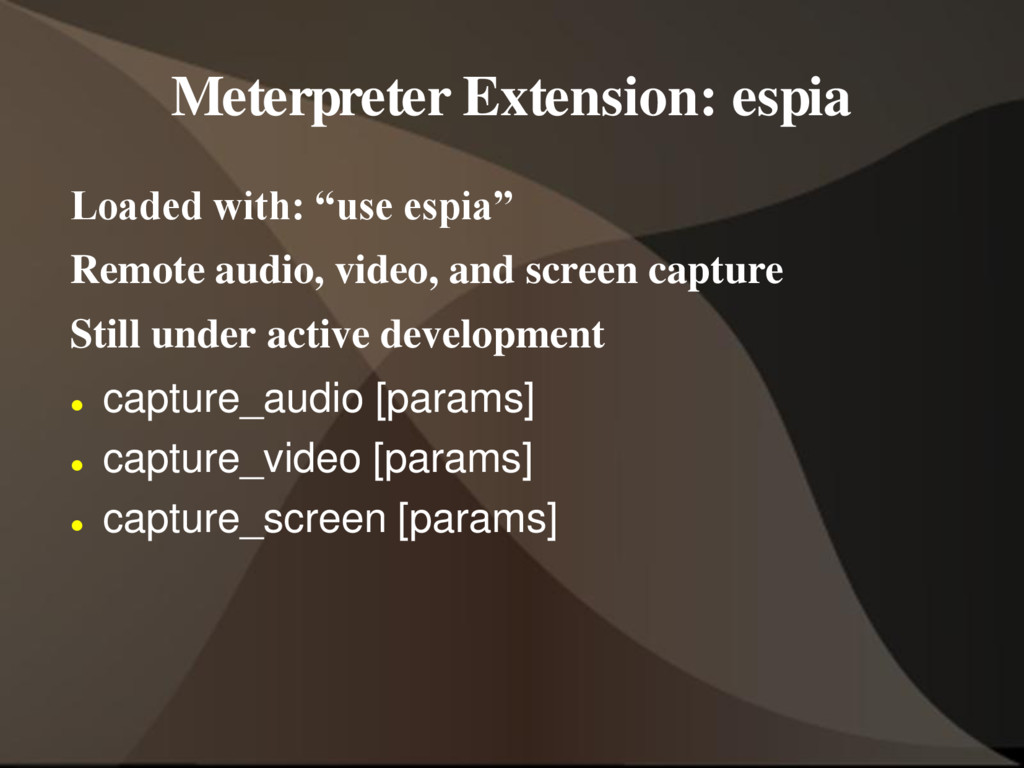 """Meterpreter Extension: espia Loaded with: """"use ..."""