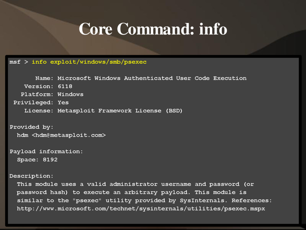 Core Command: info msf > info exploit/windows/s...