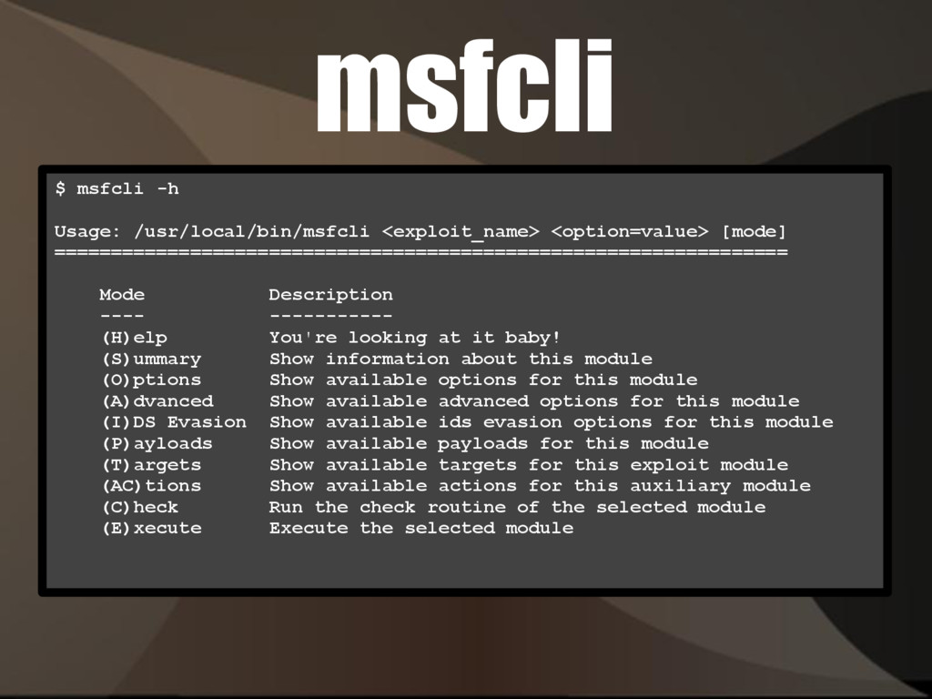 msfcli $ msfcli -h Usage: /usr/local/bin/msfcli...