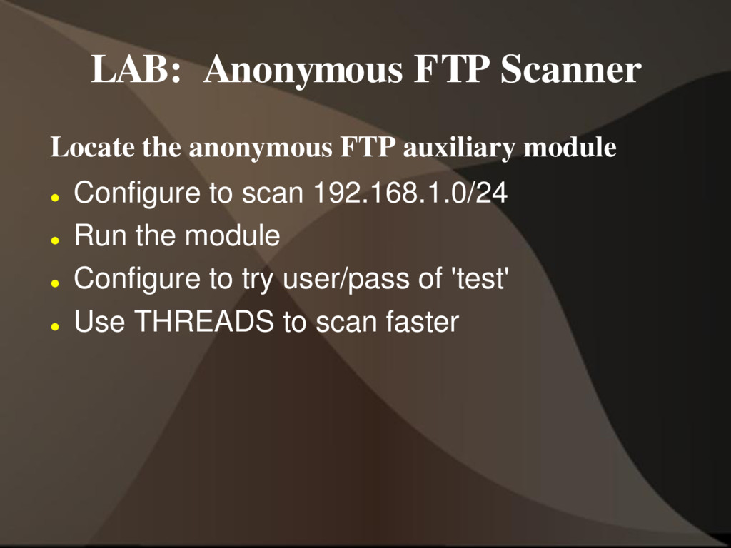 LAB: Anonymous FTP Scanner Locate the anonymous...