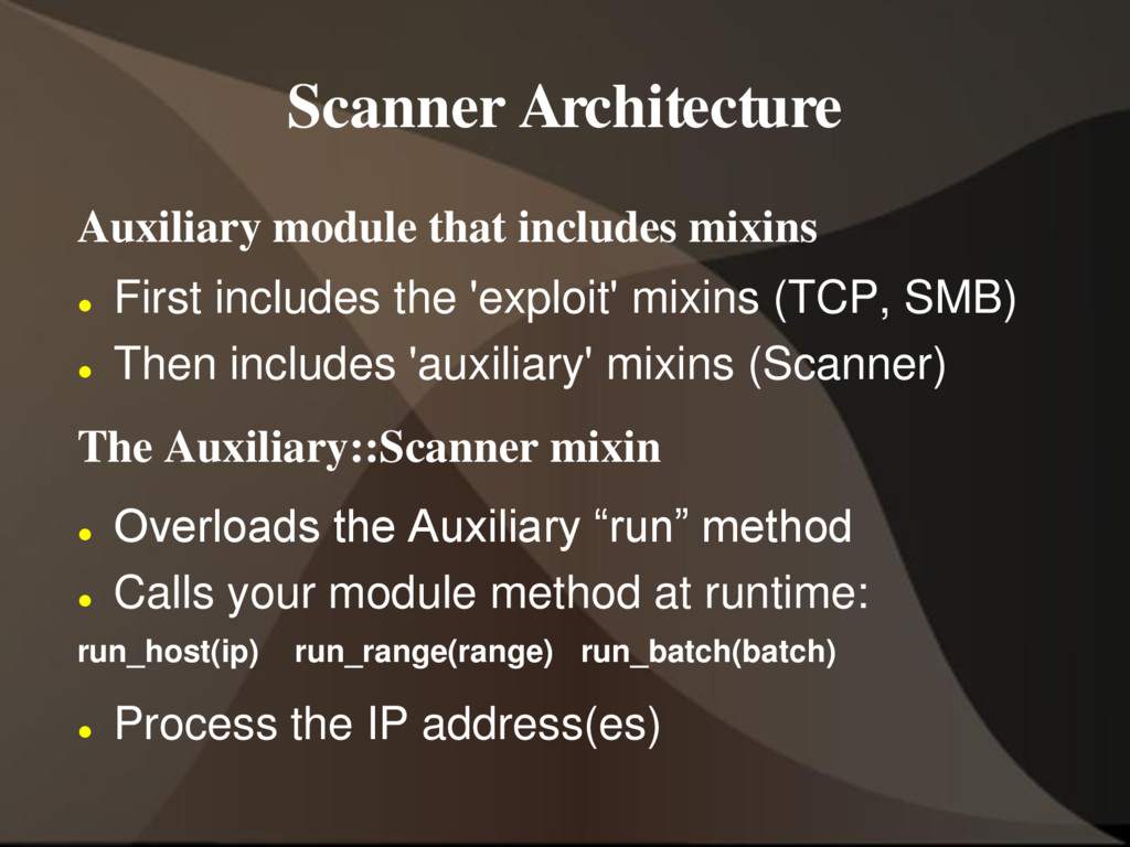 Scanner Architecture Auxiliary module that incl...
