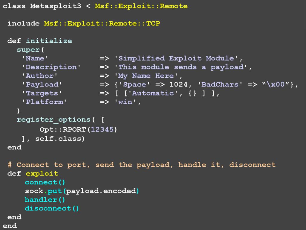 class Metasploit3 < Msf::Exploit::Remote includ...