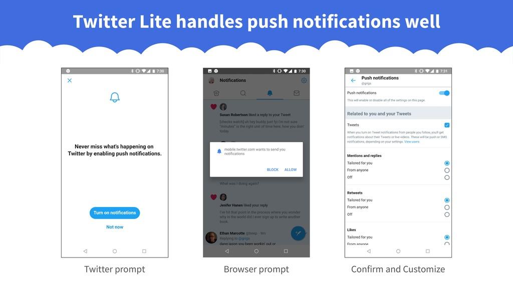 Twitter Lite handles push notifications well Br...