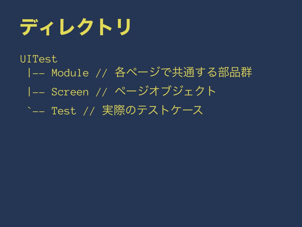 σΟϨΫτϦ UITest |-- Module // ֤ϖʔδͰڞ௨͢Δ෦܈ |-- Sc...