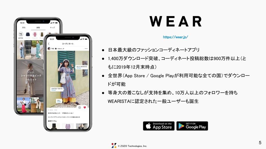© ZOZO Technologies, Inc. https://wear.jp/ 5 ●...