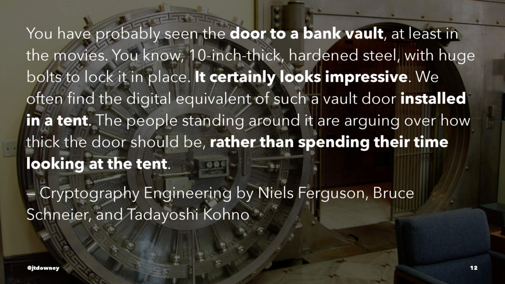 You have probably seen the door to a bank vault...