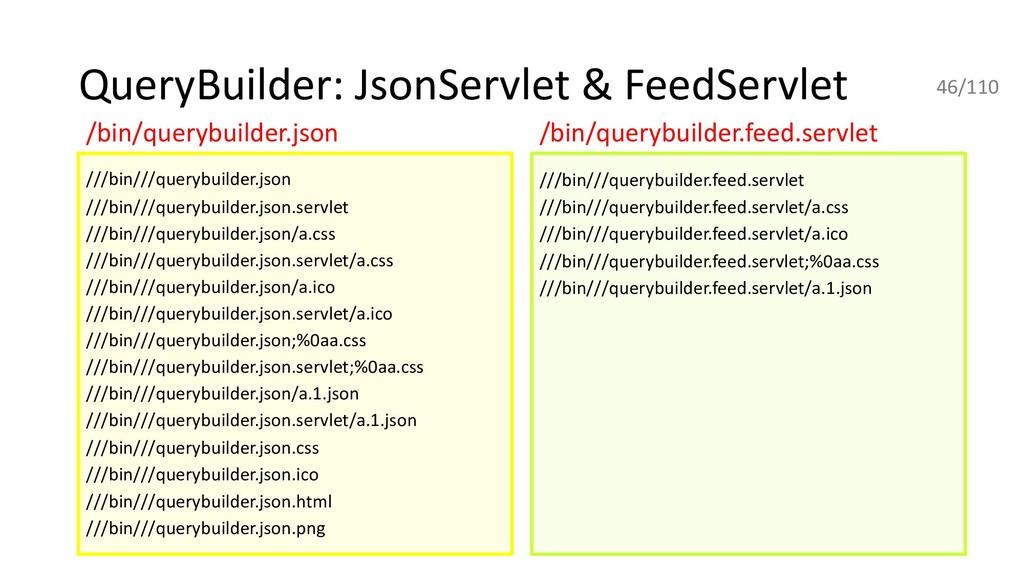 QueryBuilder: JsonServlet & FeedServlet ///bin/...