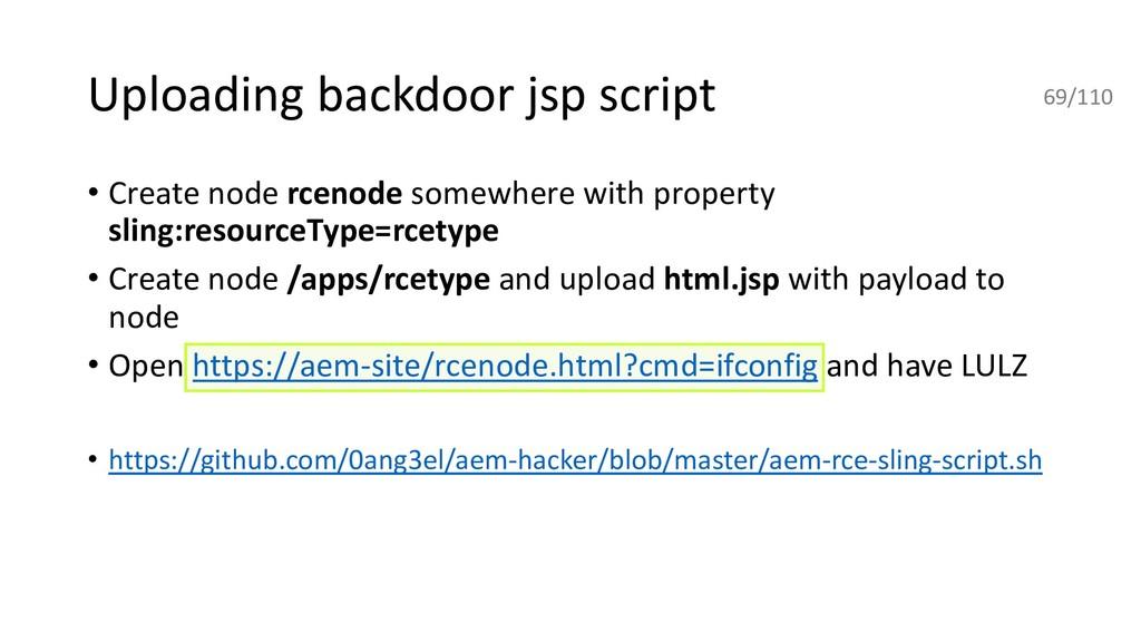 Uploading backdoor jsp script • Create node rce...