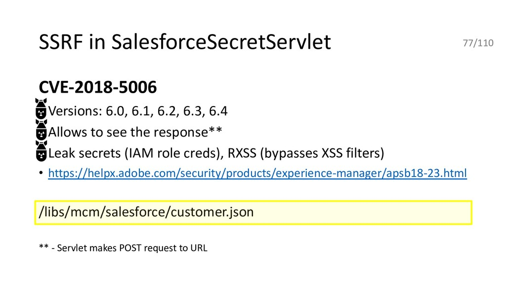SSRF in SalesforceSecretServlet CVE-2018-5006 •...