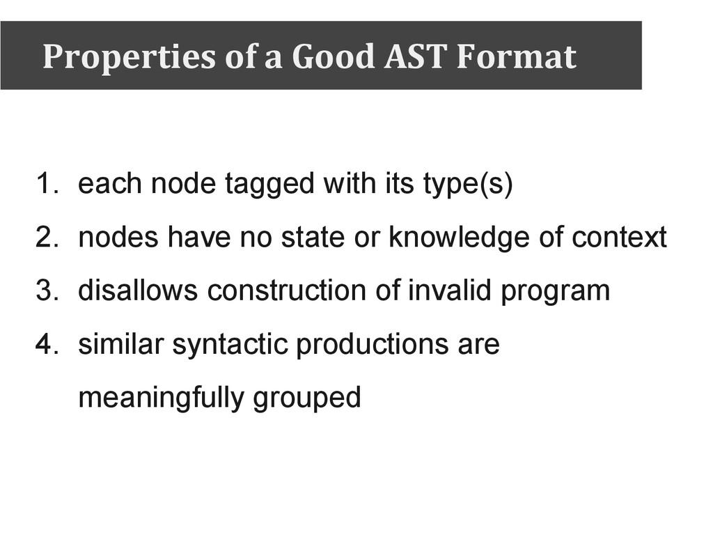 Properties of a Good AST Format 1. each node ta...