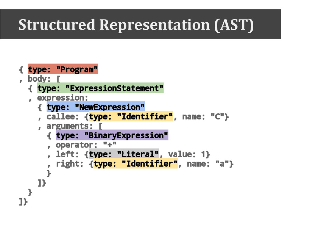"Structured Representation (AST) { type: ""Progra..."