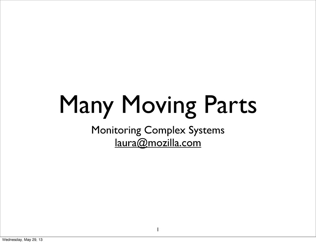Many Moving Parts Monitoring Complex Systems la...