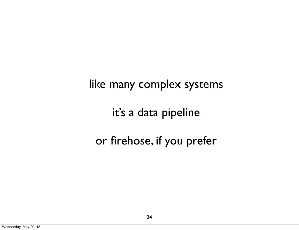 like many complex systems it's a data pipeline ...