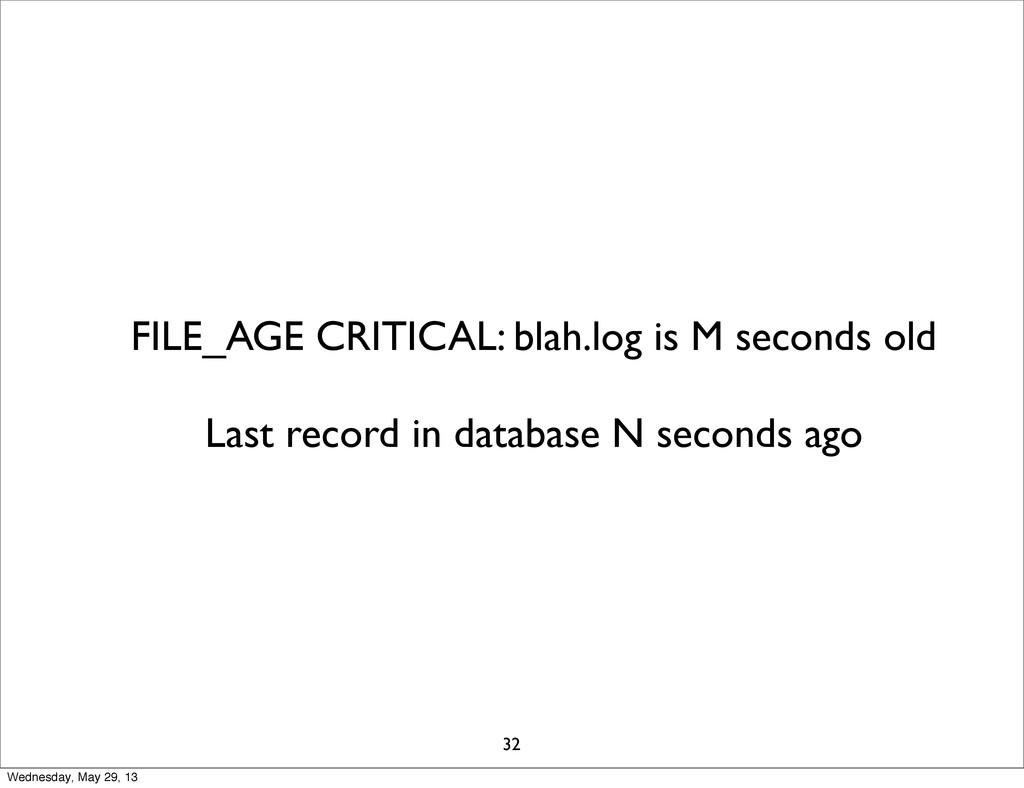 FILE_AGE CRITICAL: blah.log is M seconds old La...