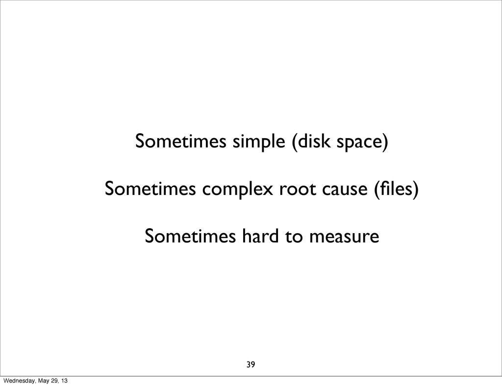 Sometimes simple (disk space) Sometimes complex...
