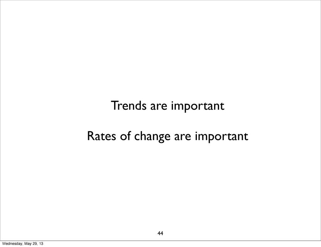 Trends are important Rates of change are import...