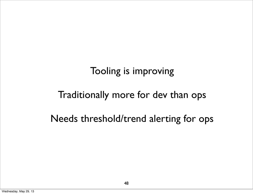 Tooling is improving Traditionally more for dev...