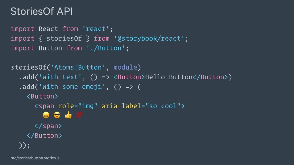 StoriesOf API import React from 'react'; import...