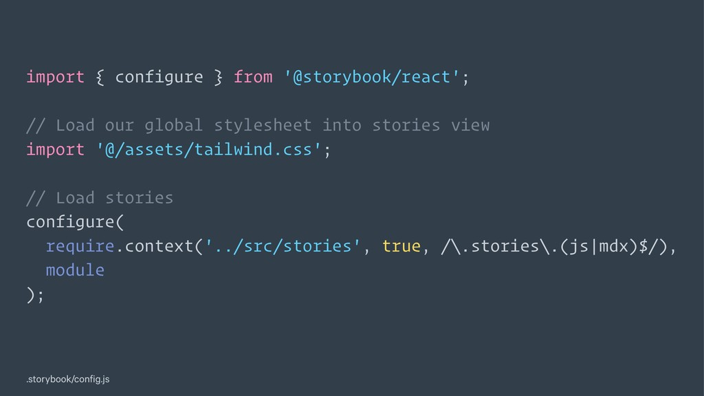 import { configure } from '@storybook/react'; /...