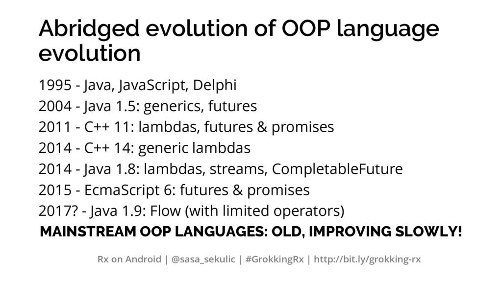 Abridged evolution of OOP language evolution 19...