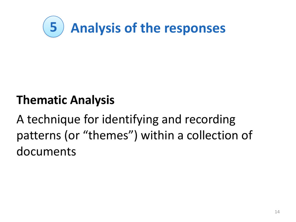 Analysis of the responses Thematic ...