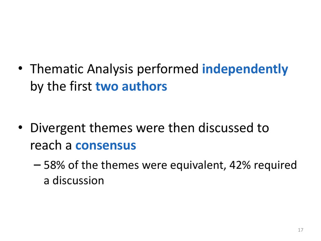 • Thematic Analysis performed independ...