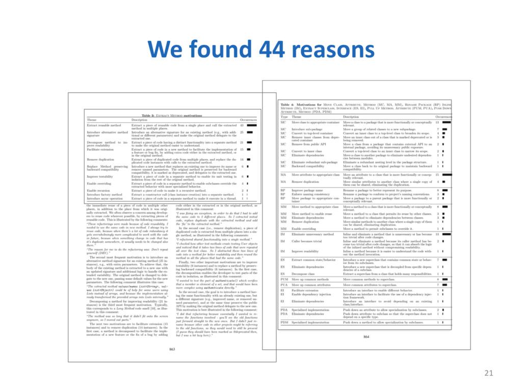 We found 44 reasons 21