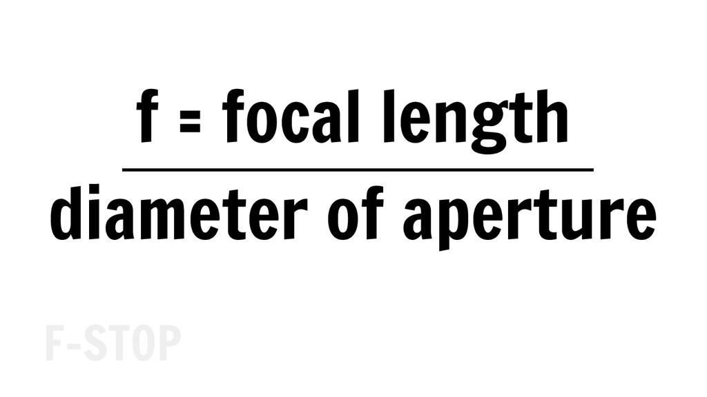 f = focal length diameter of aperture F-STOP