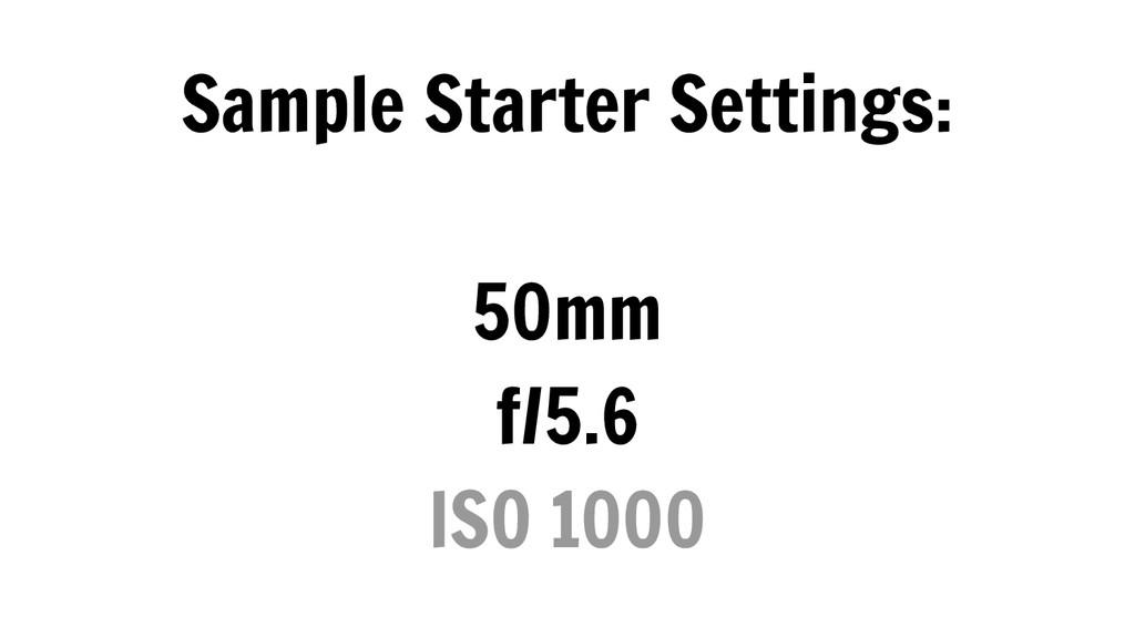 Sample Starter Settings: 50mm f/5.6 ISO 1000