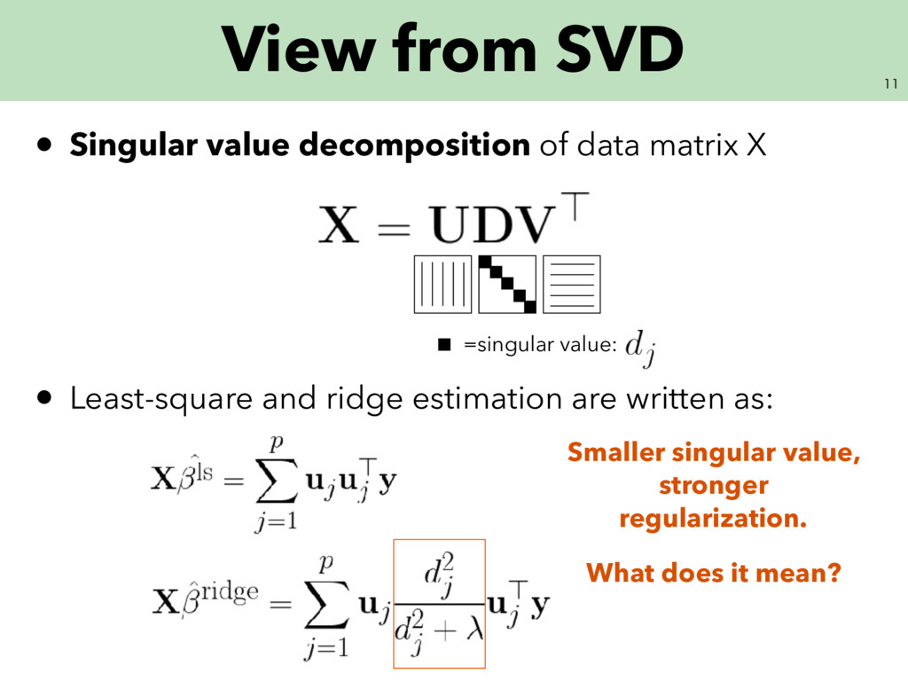 View from SVD • Singular value decomposition...
