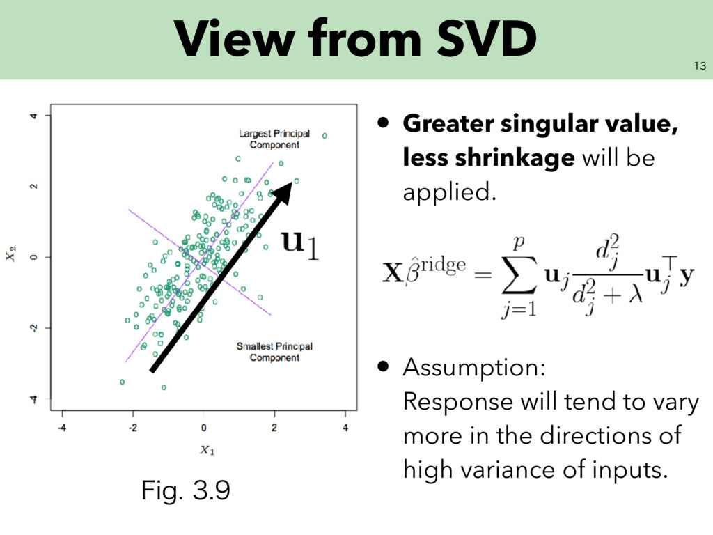 View from SVD • Greater singular value, less...