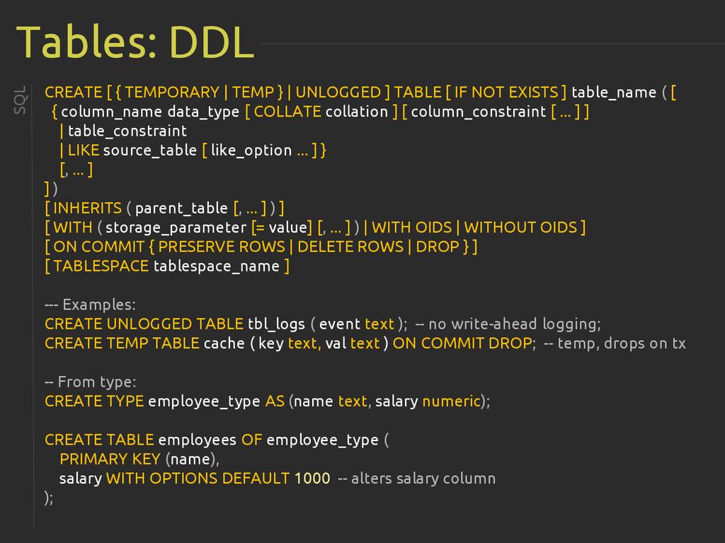 Tables: DDL SQL CREATE [ { TEMPORARY | TEMP } |...