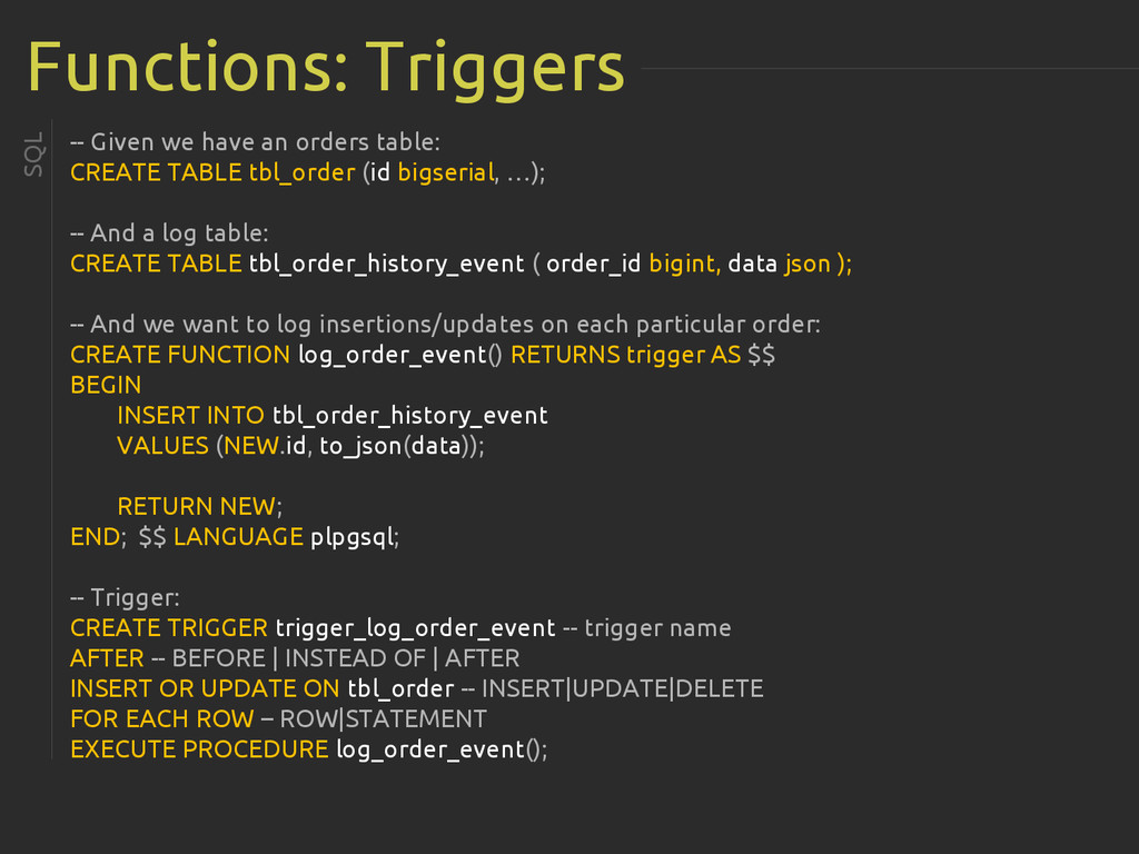 Functions: Triggers -- Given we have an orders ...
