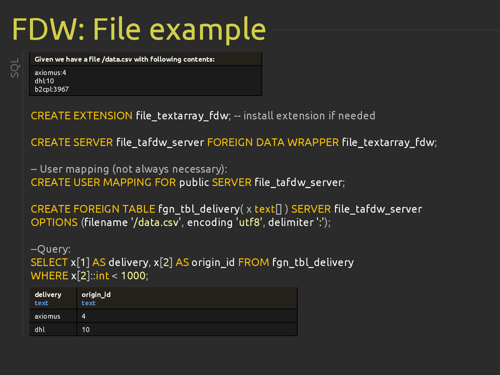 FDW: File example CREATE EXTENSION file_textarr...