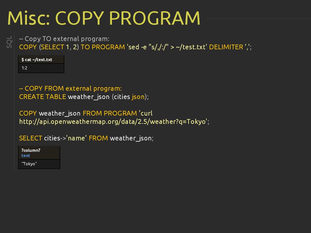 Misc: COPY PROGRAM -- Copy TO external program:...