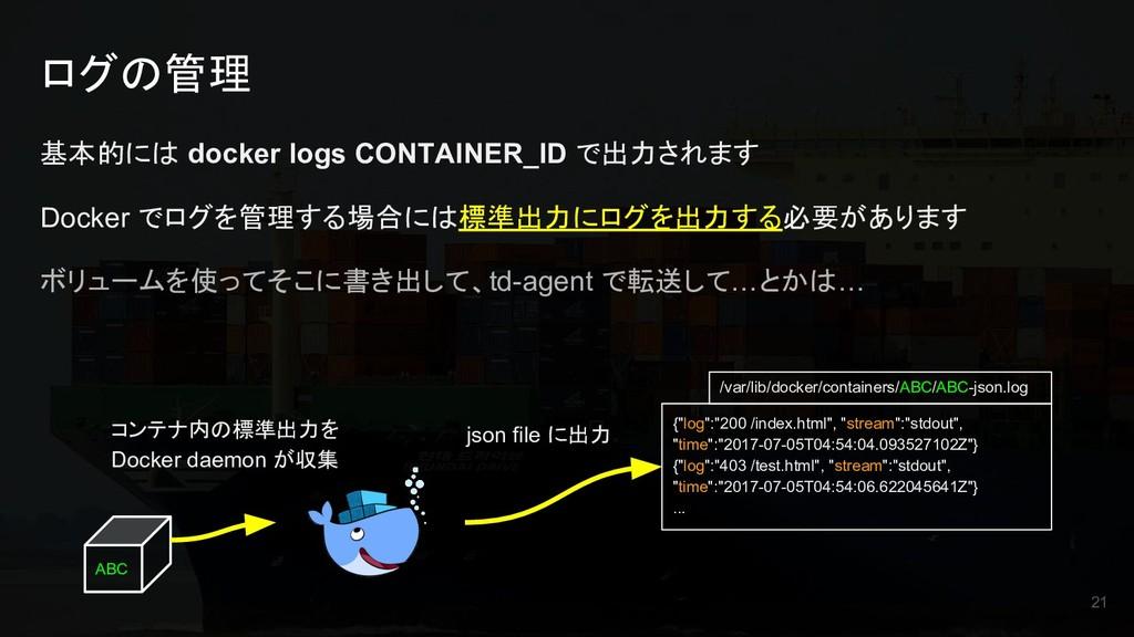 ログの管理 基本的には docker logs CONTAINER_ID で出力されます Do...