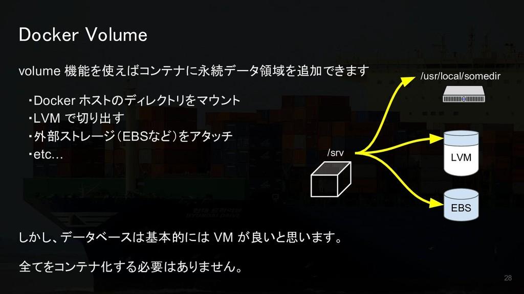 Docker Volume volume 機能を使えばコンテナに永続データ領域を追加できます ...