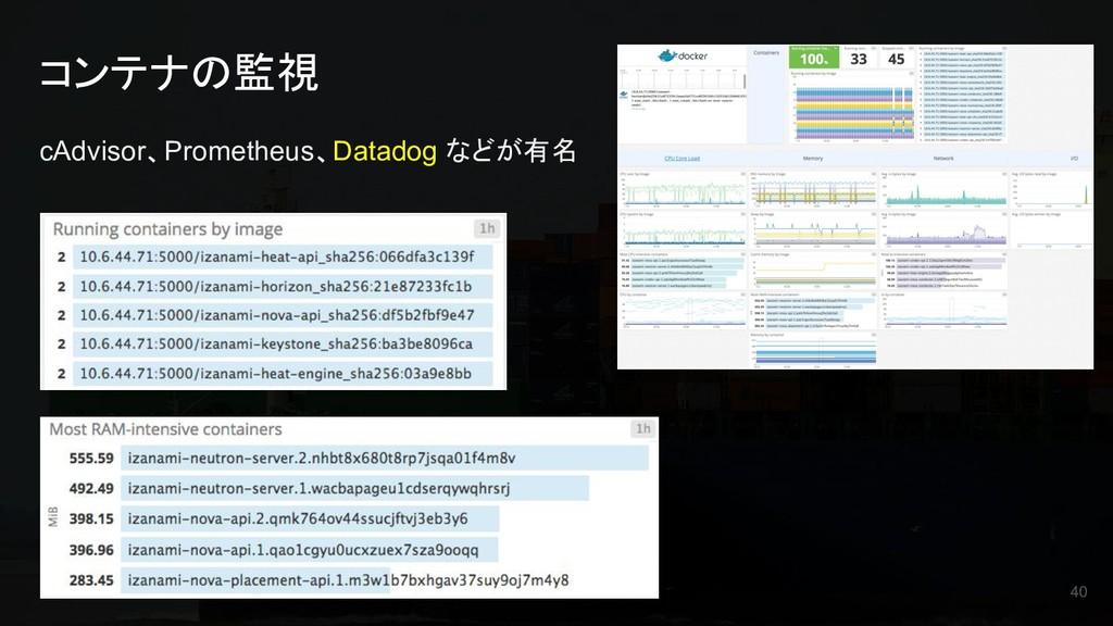 コンテナの監視 cAdvisor、Prometheus、Datadog などが有名 40