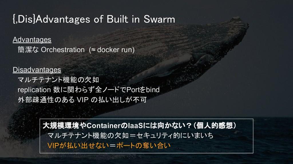 {,Dis}Advantages of Built in Swarm Advantages  ...
