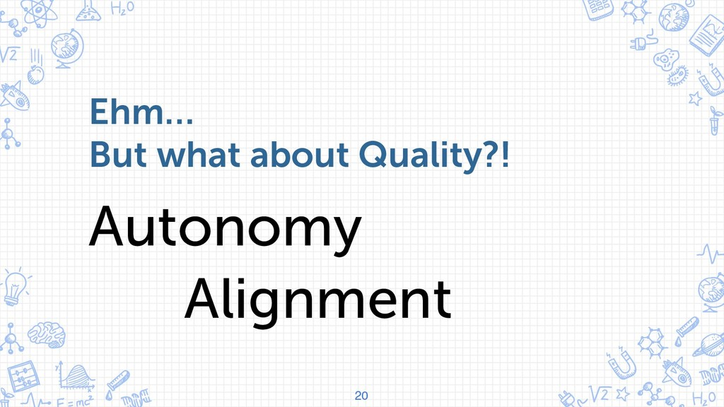 20 Ehm… But what about Quality?! Autonomy Align...
