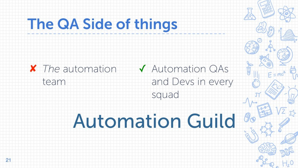 The QA Side of things 21 ✘ The automation team ...