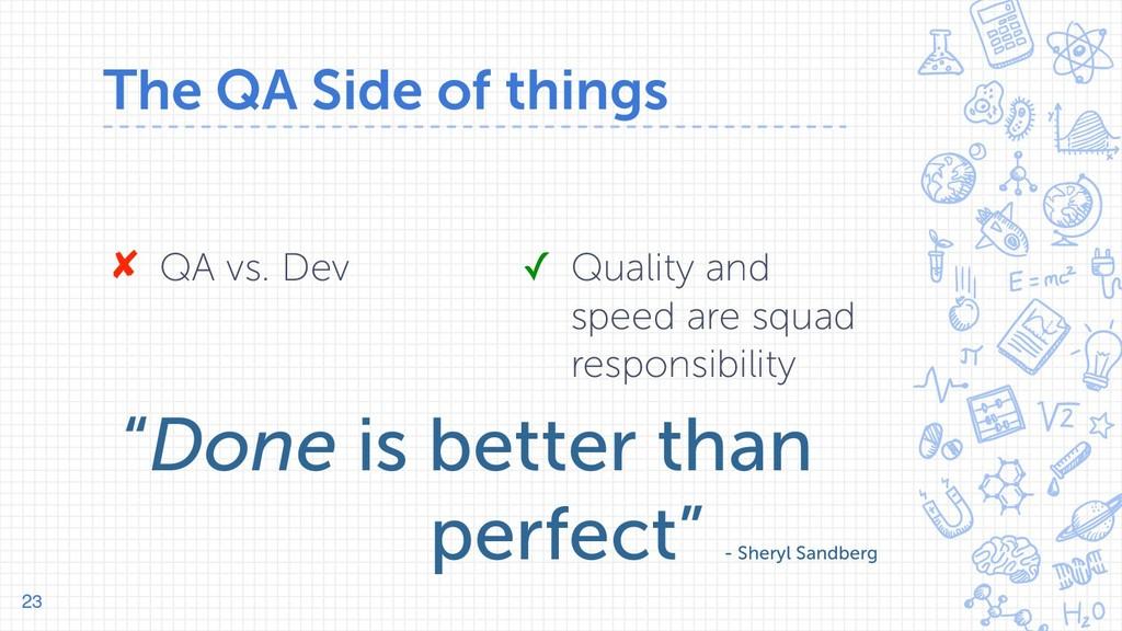 The QA Side of things 23 ✘ QA vs. Dev ✓ Quality...