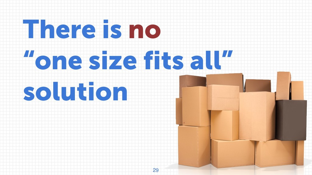 """29 There is no """"one size fits all"""" solution"""