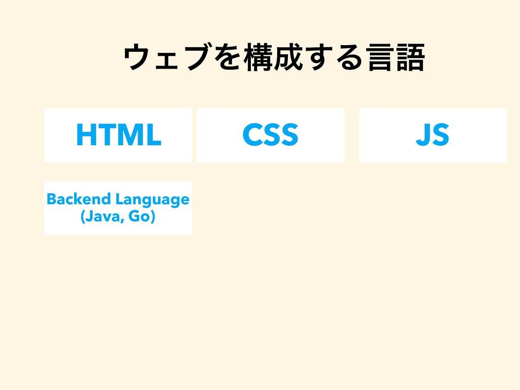 HTML CSS JS ΣϒΛߏ͢Δݴޠ Backend Language (Java, ...