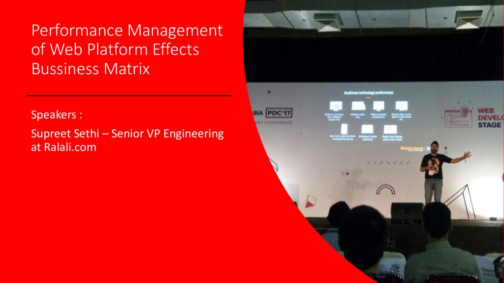 Performance Management of Web Platform Effects ...
