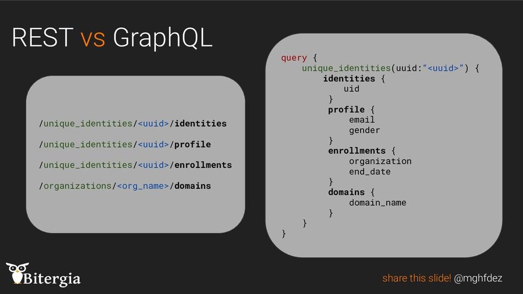 REST vs GraphQL share this slide! @mghfdez /uni...