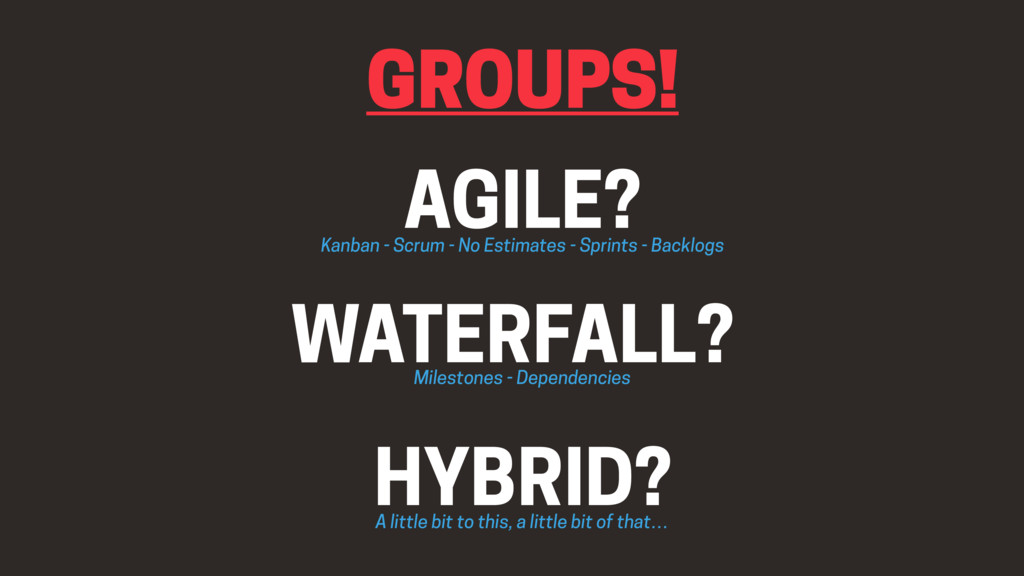 GROUPS! HYBRID? WATERFALL? AGILE? Kanban - Scru...