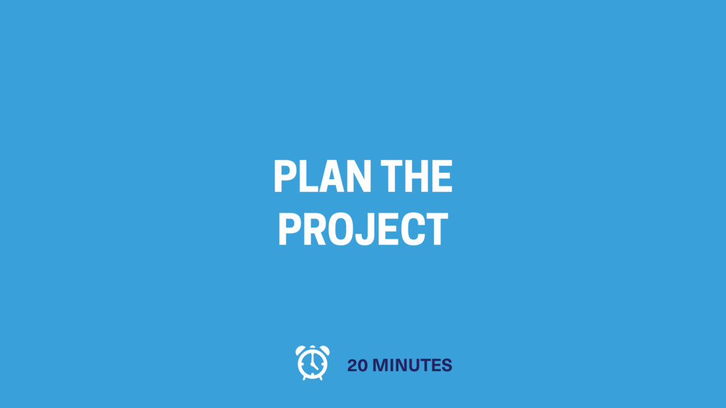 PLAN THE PROJECT 20 MINUTES